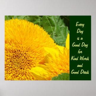 Good Day Kind Words Good Deeds art print Sunflower