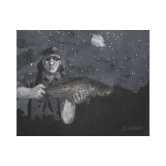 Good Day's Catch-B&W Canvas Print