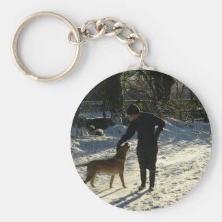 Good dog basic round button keychain