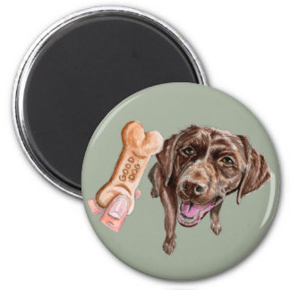 """GOOD DOG"" Chocolate Lab Watercolor Painting Magnet"