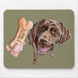 """GOOD DOG"" Chocolate Lab Watercolor Painting Mouse Pad"