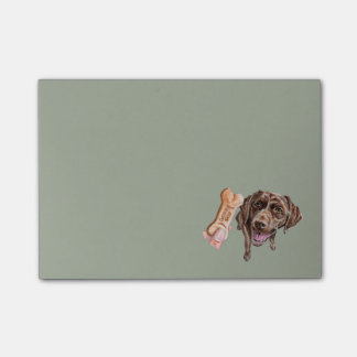 """GOOD DOG"" Chocolate Lab Watercolor Painting Post-it Notes"
