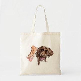 """GOOD DOG"" Chocolate Lab Watercolor Painting Tote Bag"
