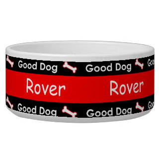 Good Dog Doggie Bones Colorful Red and Black Bowl