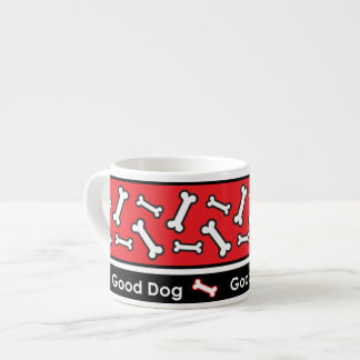 Good Dog Doggie Bones Colorful Red and Black Espresso Cup