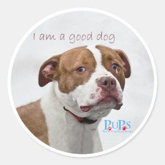 Good Dog Pit Bull Rescue Classic Round Sticker