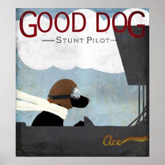Good Dog Stunt Pilot - black dog flying Poster