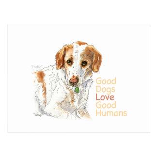 Good dogs love good humans watercolor postcard
