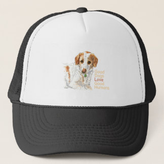 Good dogs love good humans watercolor trucker hat