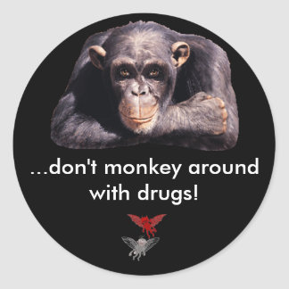 Good /Evil, ...don't monkey around with... Classic Round Sticker