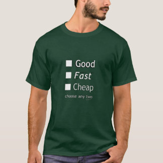 Cheap Fast Or Good T-Shirts & Shirt Designs | Zazzle
