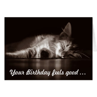 Good-feeling-cat for a happy birthday card