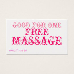 GOOD FOR ONE FREE MASSAGE - CARD