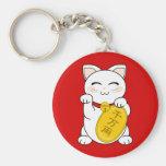 Good Fortune Cat - Maneki Neko Basic Round Button Keychain