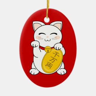 Good Fortune Cat - Maneki Neko Ceramic Ornament