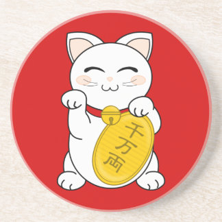 Good Fortune Cat - Maneki Neko Drink Coaster