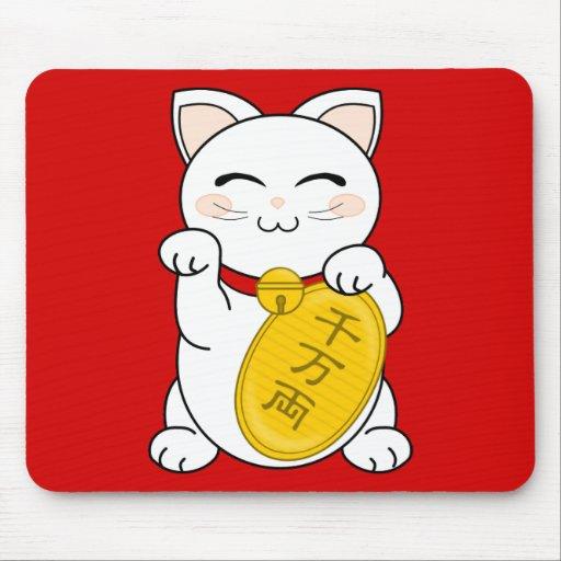 Good Fortune Cat - Maneki Neko Mouse Pads