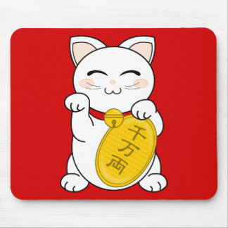 Good Fortune Cat - Maneki Neko Mouse Pad