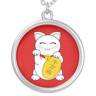 Good Fortune Cat - Maneki Neko Round Pendant Necklace