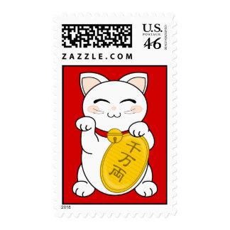 Good Fortune Cat - Maneki Neko Postage Stamps