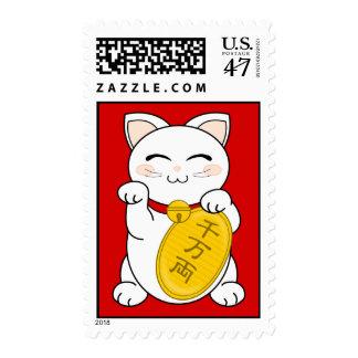 Good Fortune Cat - Maneki Neko Stamp