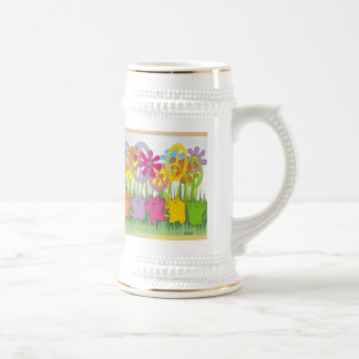 Good Fortune Flower Power Peace Cats Beer Stein