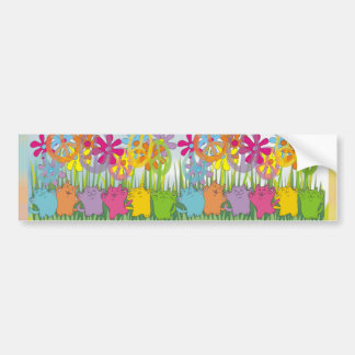 Good Fortune Flower Power Peace Cats Bumper Sticker