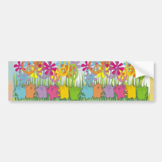Good Fortune Flower Power Peace Cats Bumper Sticker