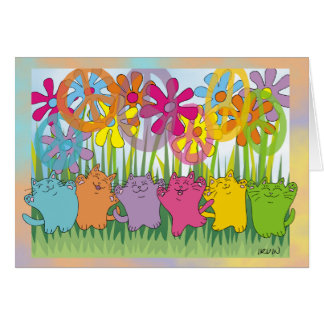 Good Fortune Flower Power Peace Cats Greeting Card