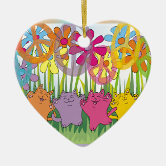 Good Fortune Flower Power Peace Cats Ceramic Ornament