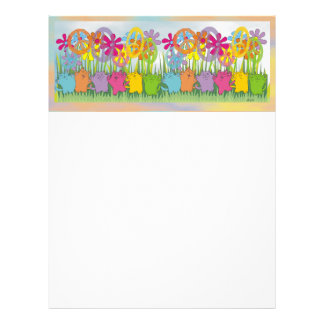 Good Fortune Flower Power Peace Cats Customized Letterhead