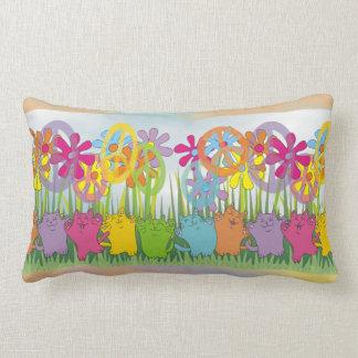 Good Fortune Flower Power Peace Cats Pillow