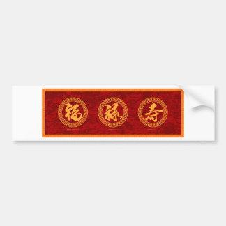 Good Fortune Prosperity and Longevity Red Backgrou Bumper Sticker