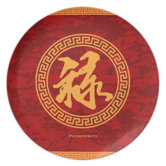 Good Fortune Prosperity and Longevity Red Backgrou Melamine Plate