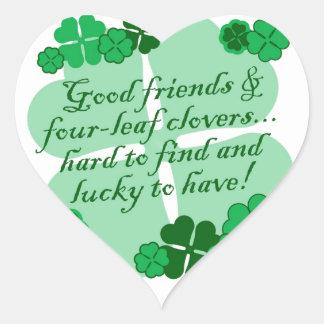 Good Friends and Shamrocks Heart Sticker