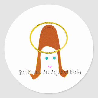 Good Friends Are Angels On Earth Classic Round Sticker