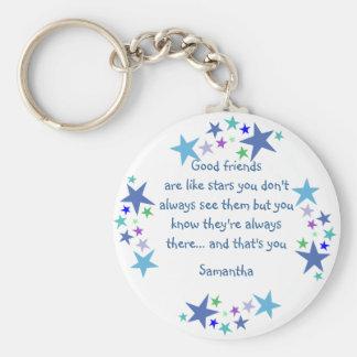 Good friends are like stars Custom Name for Friend Keychain