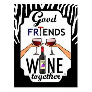 Good Friends Wine Postcard