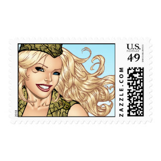 Good Girl Pinup with American Flag by Al Rio Postage