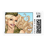 Good Girl Pinup with American Flag by Al Rio Stamp