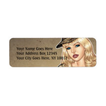wife, woman, pinup, camo, desert, al rio, drawing, security, illustration, military, Label with custom graphic design