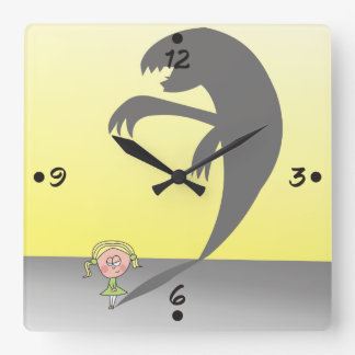 Good Girl with a Naughty Shadow Funny Wall Clock