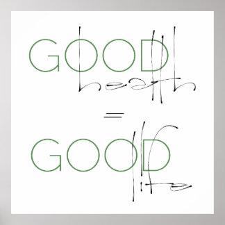 Good Health Good Life Lifestyle Poster