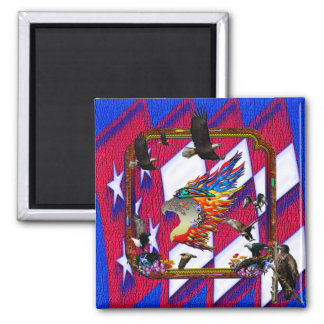 Good Hunting Eagle Arrows and Flowers Frame 2 Inch Square Magnet