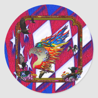 Good Hunting Eagle Arrows and Flowers Frame Classic Round Sticker