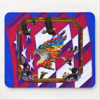Good Hunting Eagle Arrows and Flowers Frame Mousepad
