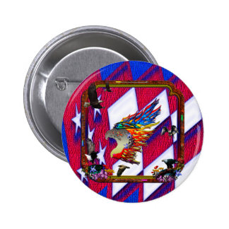 Good Hunting Eagle Arrows and Flowers Frame Pinback Button