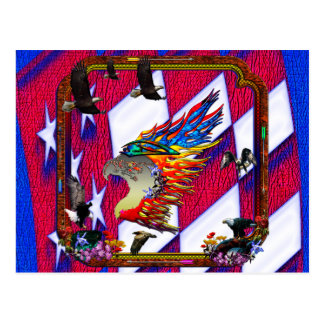 Good Hunting Eagle Arrows and Flowers Frame Postcard