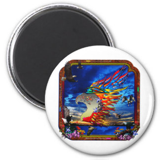 Good Hunting Eagle Sky background clear edge 2 Inch Round Magnet