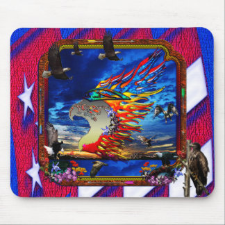 Good Hunting Eagle Sky background clear edge Mouse Pad
